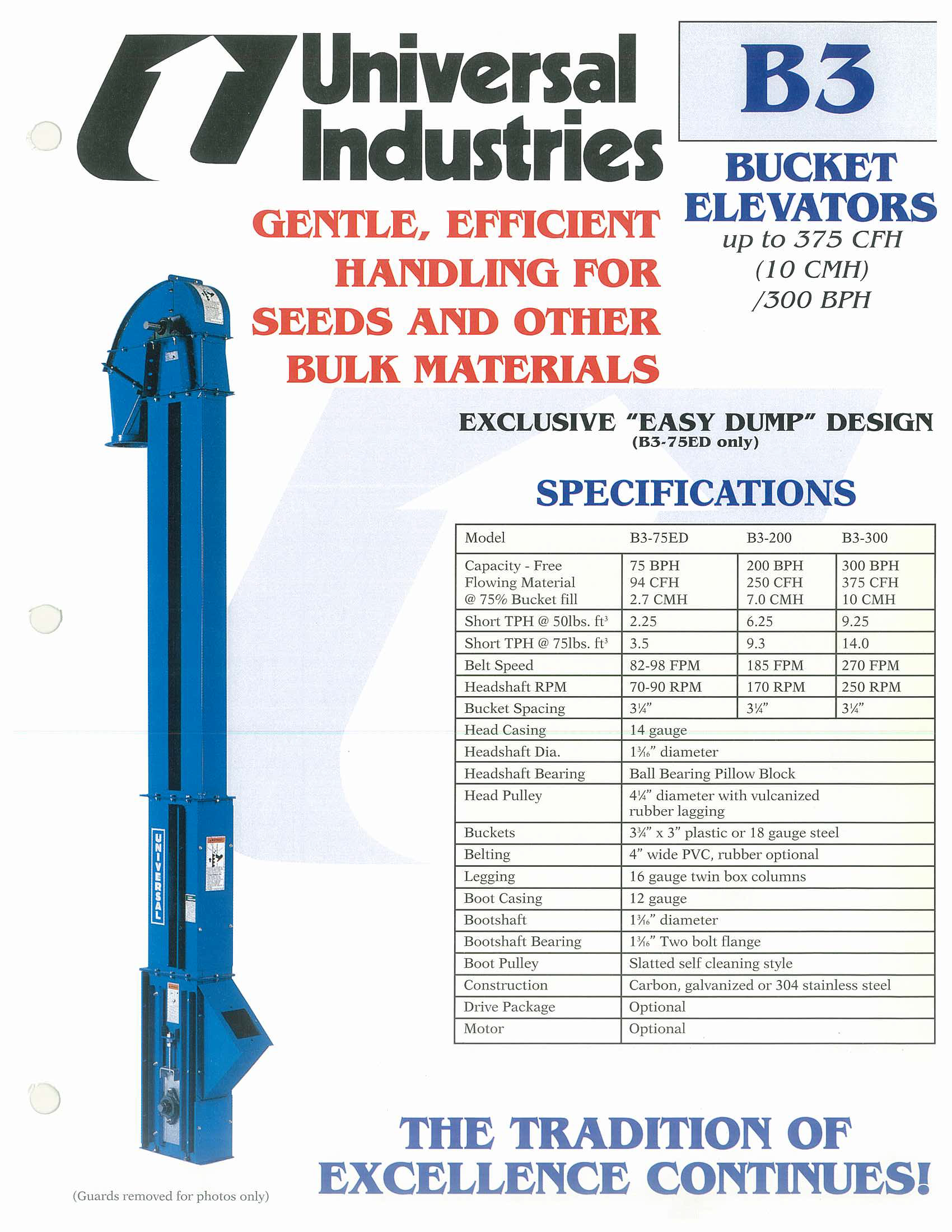 Ag West Supply >> Universal Industries B3 Bucket Elevator - West Coast Seed Mill Supply Company